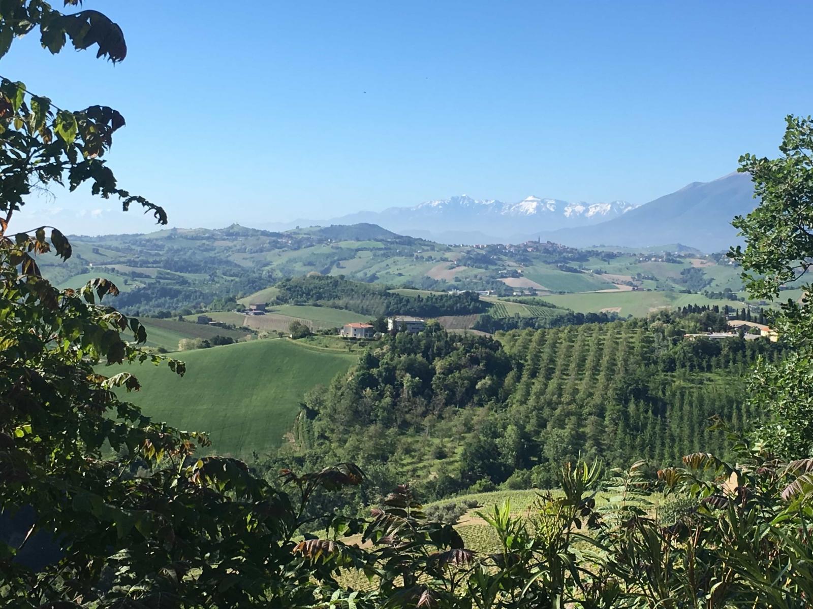 Zicht op de heuvels en Gran Sasso